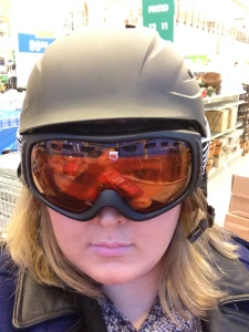 Picked up my new helmet and goggles for snowboarding next week.